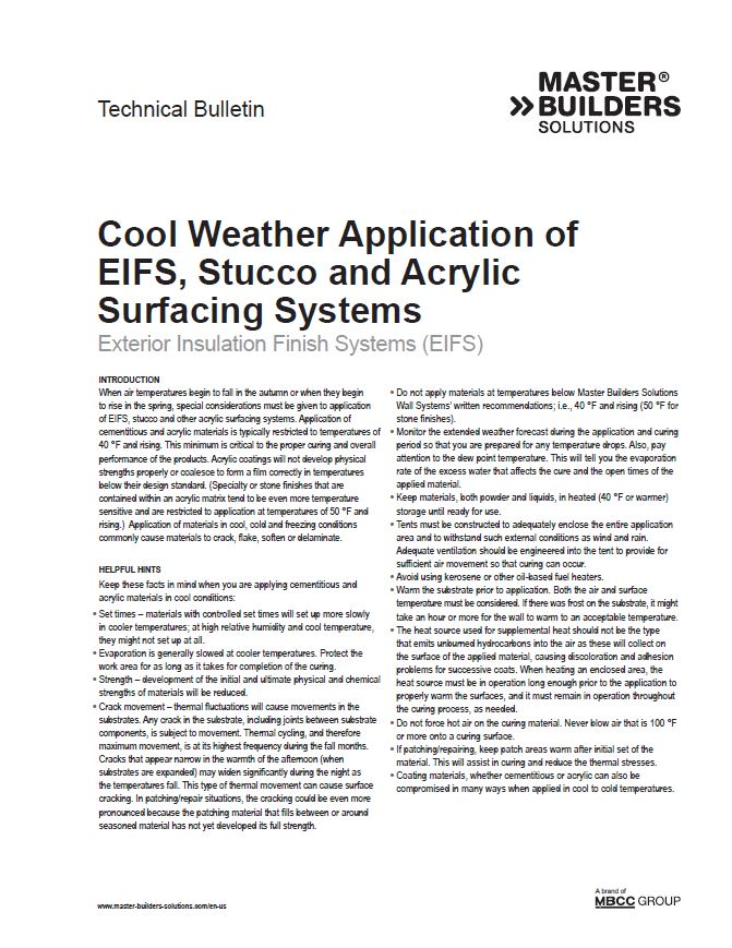 Cool Weather Application of EIFS, Stucco, and Acrylic Surfacing Systems Technical Bulletin Teaser Image