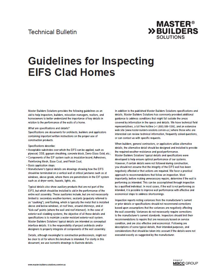 Guidelines for Inspecting EIFS Clad Homes