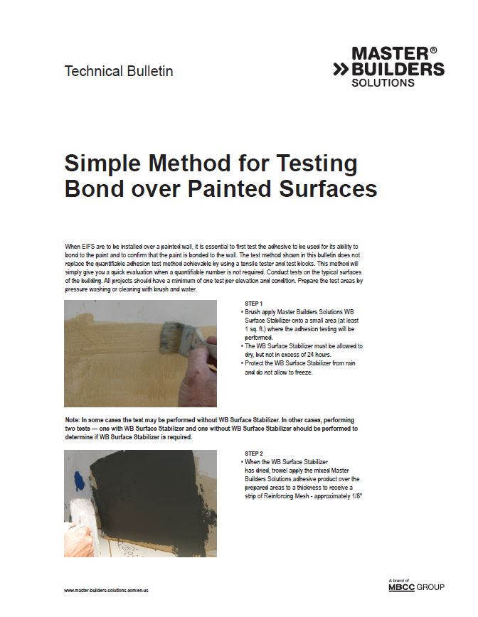 Simple Method for Testing Bond over Painted Surfaces