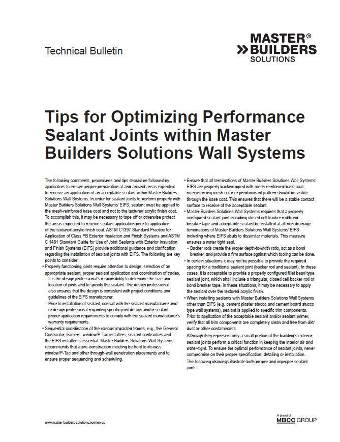 Tips for Optimizing Performance Sealant Joints within Master Builders Solutions Wall Systems