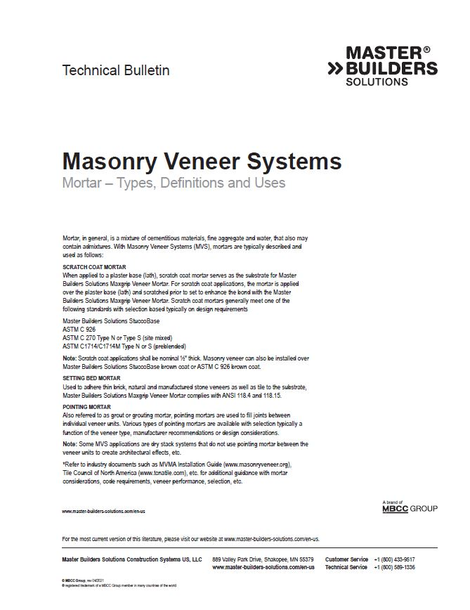 Masonry Veneer Systems Mortar - Types, Definitions and Uses Technical Bulletin