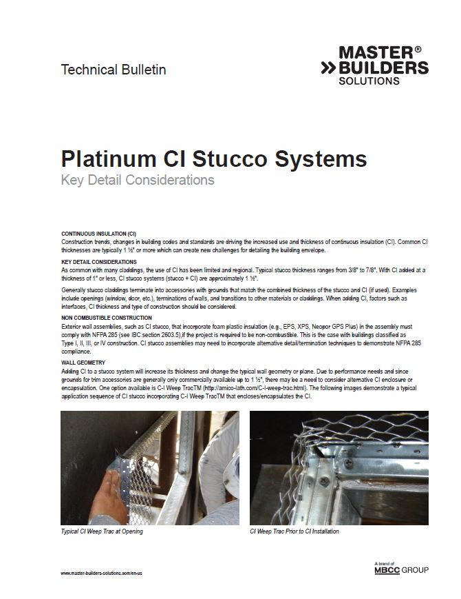 Platinum CI Stucco Systems Key Detail Considerations Technical Bulletin Teaser Image